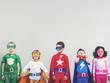 Leinwanddruck Bild - Superhero Kids Aspiration Imagination Playful Fun Concept