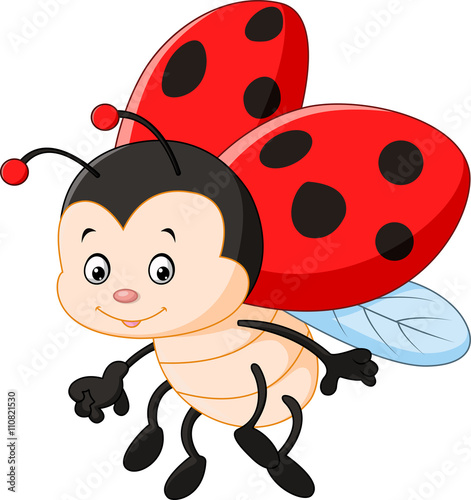 plakat Cartoon ladybug waving