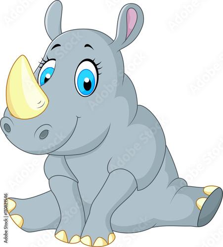Poster de jardin Zoo cute rhino cartoon