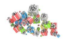 Flying Gift Boxes On White. 3d Rendering.