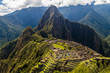 Machu Picchu ruins from above, Wayna Picchu mountain in the background, Peru