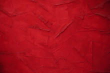 Red Wall Background With Decorative Plaster Place For Text