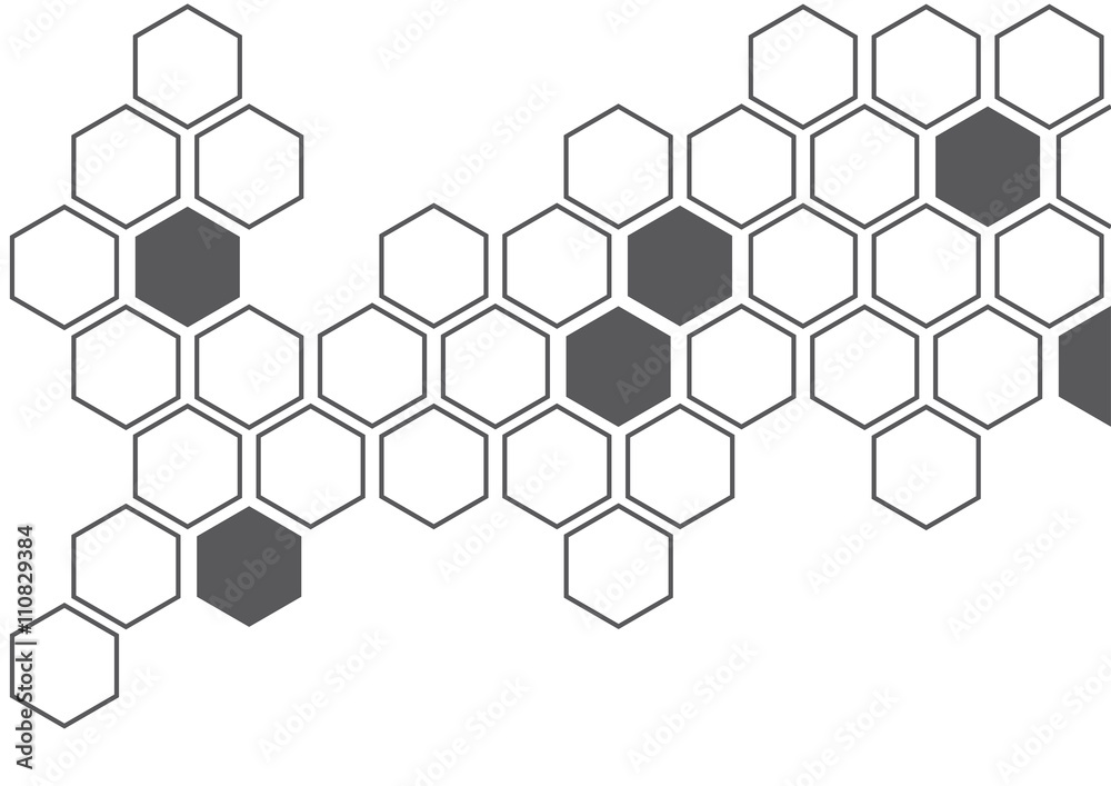 Fototapety, obrazy: dark grey hexagon white background wall pattern