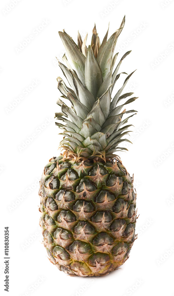 Whole pineapple isolated over white background
