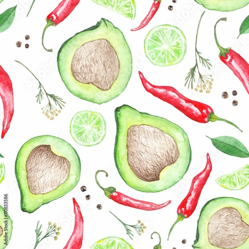 Watercolor Avocado Pattern - 110833586