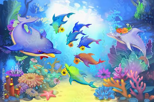 Kreatywna ilustracja i innowacyjna sztuka: szczęśliwy dzień Ojca w morzu przez delfiny. Realistyczny znak fantastyczny kreskówka, historia, projekt karty