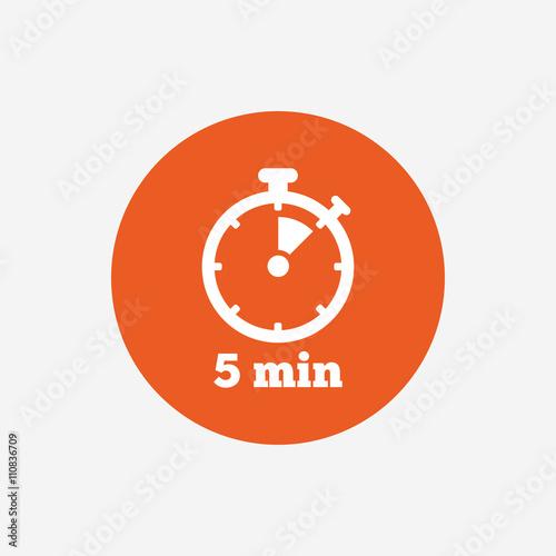 Cuadros en Lienzo  Timer sign icon. 5 minutes stopwatch symbol.