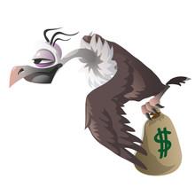 Cartoon Vulture Carries Bag Wi...