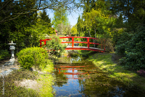 Wooden bridge in japanese garden - 110847554