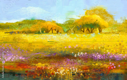 Poster Melon Abstract colorful oil painting landscape on canvas. Semi- abstract image of tree and field. Yellow and red wildflowers with blue sky. Spring season nature background