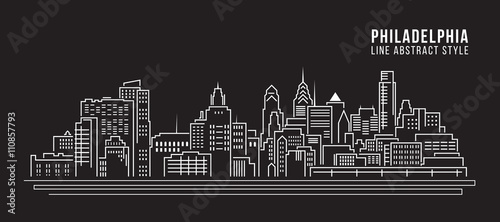 Fotografía  Cityscape Building Line art Vector Illustration design - Philadelphia city