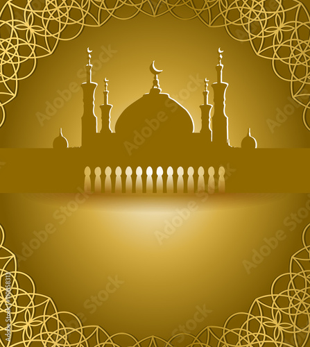 Silhouette of Mosque with Minarets and Arabic ornament