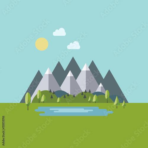 Foto op Canvas Pool Summer mountain landscape in flat style
