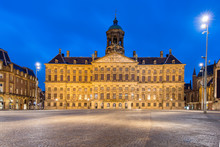 Royal Palace In Amsterdam On The Dam Square In The Evening. Neth