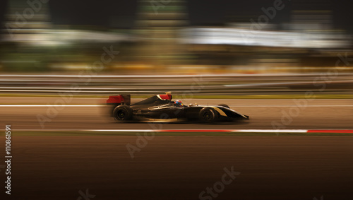 Photo Stands Motor sports Race car racing at high speed