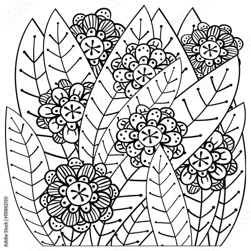 Fotografie, Obraz  Whimsical garden adult coloring book page