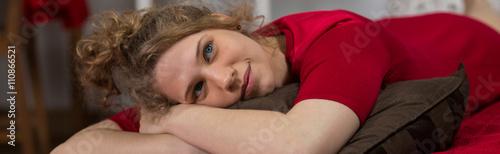 Girl in good mood Canvas Print