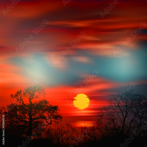 Foto op Canvas Rood paars Beautiful colorful natural landscape