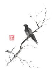 Panel Szklany Orientalny Lonely bird Japanese style original sumi-e ink painting.