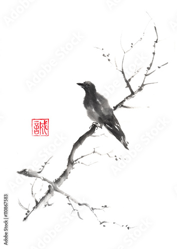 Lonely bird Japanese style original sumi-e ink painting.  - 110867583