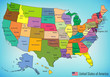 USA map with federal states. All states are selectable. Vector