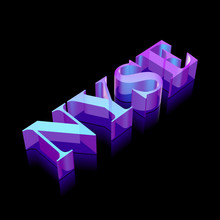 3d Neon Glowing Character NYSE Made Of Glass, Vector Illustration.