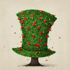 Fantasy green hat in the shape of  tree with flowers