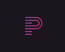 Line Letter P Logotype. Abstra...