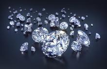 Diamanten Gruppe Auf Schwarz