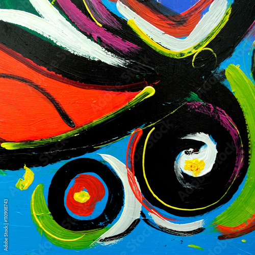 abstract modern painting by oil on  canvas for  interior, illust