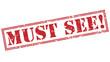 Leinwanddruck Bild - must see! red stamp on white background