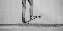 Skateboarder Legs With Skate. ...