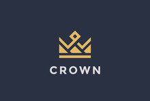 Geometric Crown Abstract Logo Design Vector Template...Vintage Royal King Queen Symbol Logotype Concept Icon.