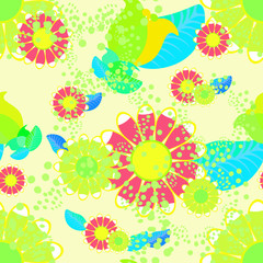 seamless pattern with green leaves and flowers.