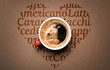 Drawing heart from words and cup of coffee, top view