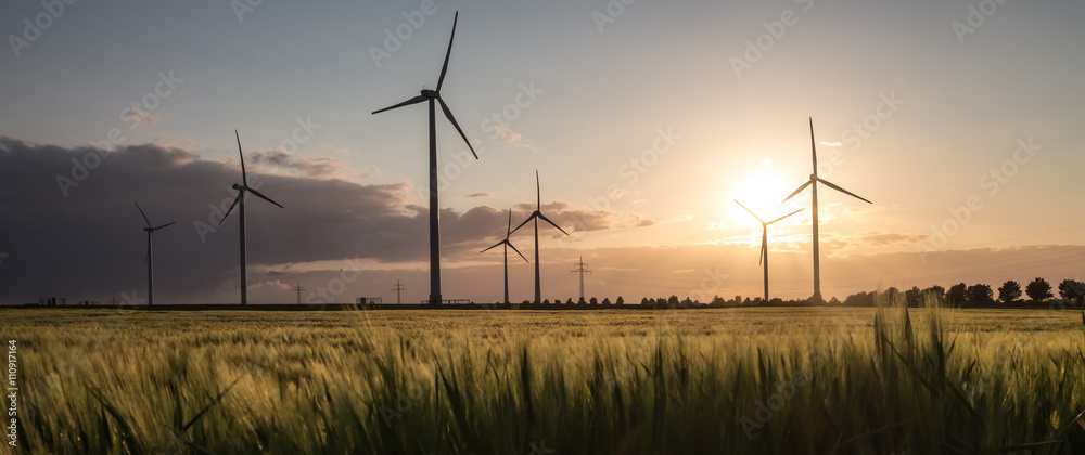 Fototapety, obrazy: wind turbine farm sundown