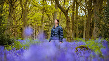 Young Woman Gazing Up From Bluebells Woods, Pateley Bridge, Nidderdale, Yorkshire Dales