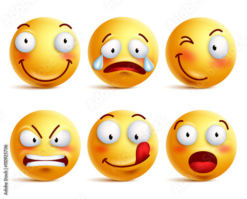 Set of smiley face icons or yellow emoticons with different facial expressions in glossy 3D realistic isolated in white background. Vector illustration