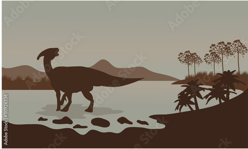 parasaurolophus in river scenery Canvas Print