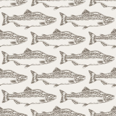 Obraz na SzkleHand drawn salmon fish seamless background. Vector illustration