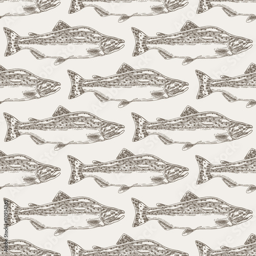 Hand drawn salmon fish seamless background. Vector illustration - 110934365