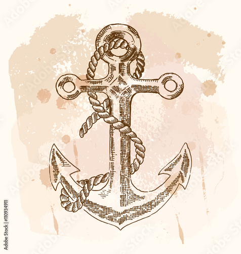 Fotografie, Tablou  Hand drawn anchor on vintage background. Vector sketch