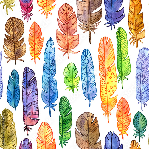 Cotton fabric vector seamless pattern with watercolor feathers