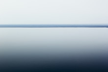 Light White Minimalist Landscape With A Horizon Line. Copy Space. Gradient. Background.