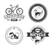 Bicycle, bike vintage vector labels, emblems, logos, badges. Bicycle logo shop and vintage repair shop for bicycle illustration