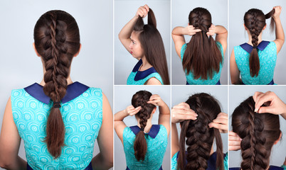 Fototapeta Do fryzjera hair tutorial. Braid hairstyle tutorial