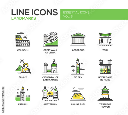 Foto  World landmarks icons set