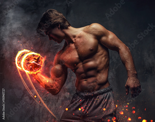 Shirtless bodybuilder doing exercises. Canvas
