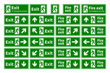 Set Of Emergency Fire Exit Gre...