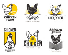 Set Of Logos With Chicken, Vector Illustration, Isolated On A White Background, With Different Logos Chicken And Yellow, Simple Logos About Chicken, Meat And Eggs, The Production Of Poultry Meat